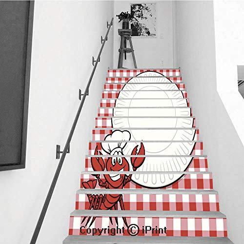 Stair Stickers Wall Stickers,13 PCS Self-Adhesive,Make Your Home Unique,Crawfish Supper Invitation
