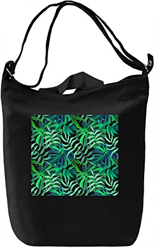 Green Leafs Pattern Borsa Giornaliera Canvas Canvas Day Bag| 100% Premium Cotton Canvas| DTG Printing|