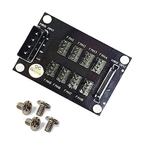 - 4-Pin SATA 15-Pin to 8X 4-Pin Fan Splitter Hub, Power from One 4-Pin