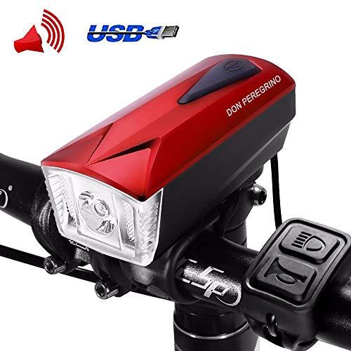 Don Peregrino Led Bike Front Light & Horn, 350 Lumens Brightness Headlight, Ipx 4 Waterproof & 1800 mAh Rechargeable Bicycle Lamp