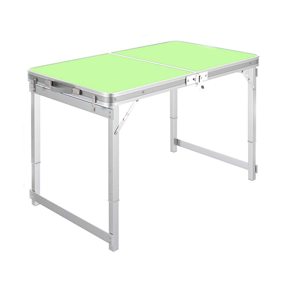 Green Square Tube Folding Table, Aluminum Alloy Portable Lifting, Suitable for Office Night Market Stalls (3 colors) (color   White)