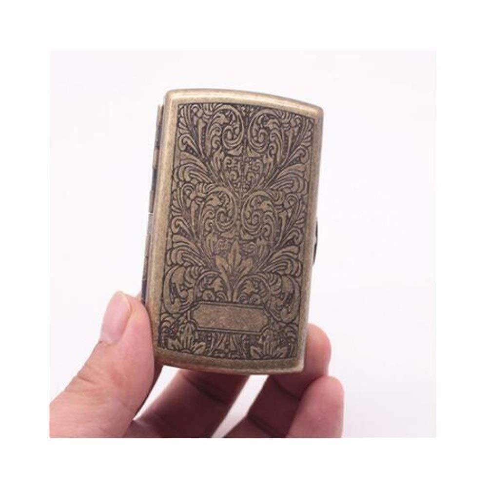 Jinfengtongxun Cigarette Case, Copper Cigarette Case/Holder - Double-Sided Flip Pocket Tobacco Storage Case - Ultra-Thin 12 Cigarettes (Color : Gold4)