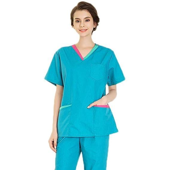 10c906af76c QZTG Medical coat Hospital Women Medical Care Scrub Clothes Dental Lab Coat  Slim Surgery Suit Medical Suit Medical Set: Amazon.co.uk: Clothing
