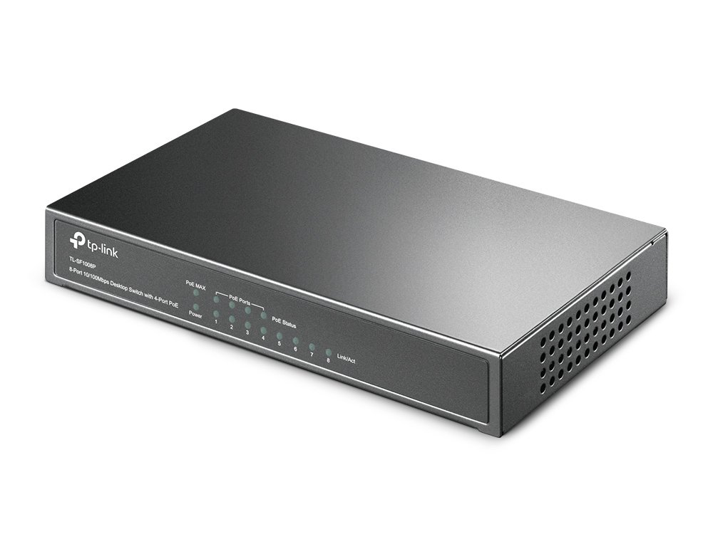 TP-Link 8-Port Fast Ethernet Unmanaged PoE Switch with 57W 4-PoE Ports | 802.3af | Plug and Play | Desktop| Metal | Limited Lifetime (TL-SF1008P)