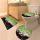MikiDa Lid Toilet Cover children s hands embrace a small green plant young germ the Personalized Durable