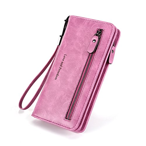 r Wallet Large Capacity Women Clutch Purse Organizer-Laimi Duo(light purple) (Leather Multi Currency Passport Case)