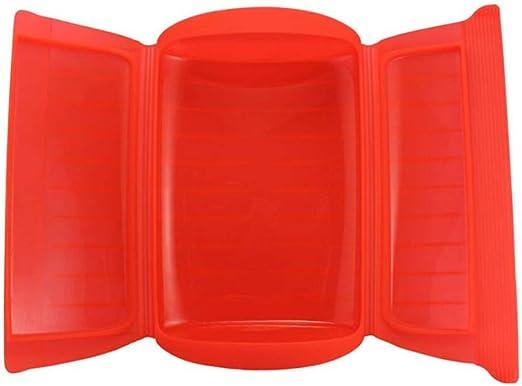 Kalavika Estuche de Vapor, Vaporera Microhondas, sin Bandeja, Silicona, Color Rojo, para 1-2 Personas (650 ml), Tamaño 25.5 x 13.5 x 6cm: Amazon.es: Hogar