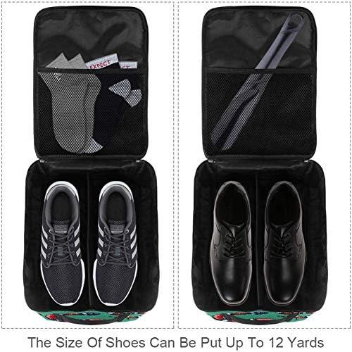 MYSTAGE シューズバッグ 靴箱 シューズケース シューズ袋 旅行収納ポーチ 二層式 靴入れ 小物収納 収納ケース アウドドア 出張 旅行 ヘビ