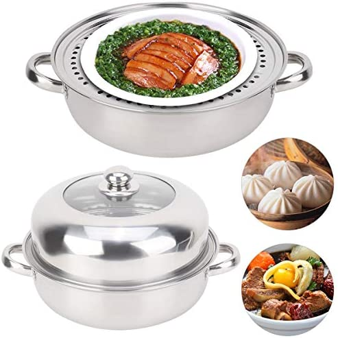 51U0k9JytGL. AC HelloCreate Steamer Pot, Stainless Steel Single Layer Stockpot Hotpot Food Steamer Pot Cookware Household Cooking    Specification:Condition: 100% Brand NewProduct material: stainless steelSteamer layer: single layer + steamed dicePot diameter * Pot height: Approx. 28 * 8.5cm / 11 * 3.3inCover diameter * Cover height: Approx. 27.5 * 8.5cm / 10.8 * 3.3inSteaming sheet diameter * Height: Approx. 27.8 * 0.2cm / 10.9 * 0.1in