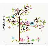 PVC Hibou Decal Stickers muraux repositionnables Enfant Arbre 155cm(H)*145cm(W)(Grand)