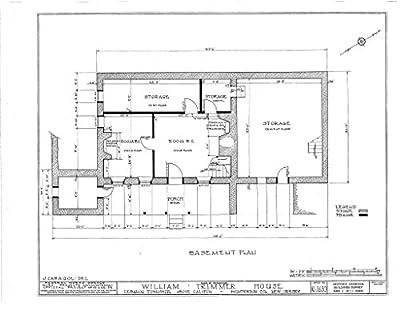 historic pictoric Blueprint Diagram HABS NJ,10-Calif.V,1- (Sheet 1 of 11) - William Trimmer House, Califon, Hunterdon County, NJ
