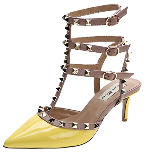 Royou Yiuoer Fourteen Colors Women's Patent Leather Buckle Studded Sandals T-Strap Kitten Pumps Dress Sandals Yellow 6.5 B(M) US
