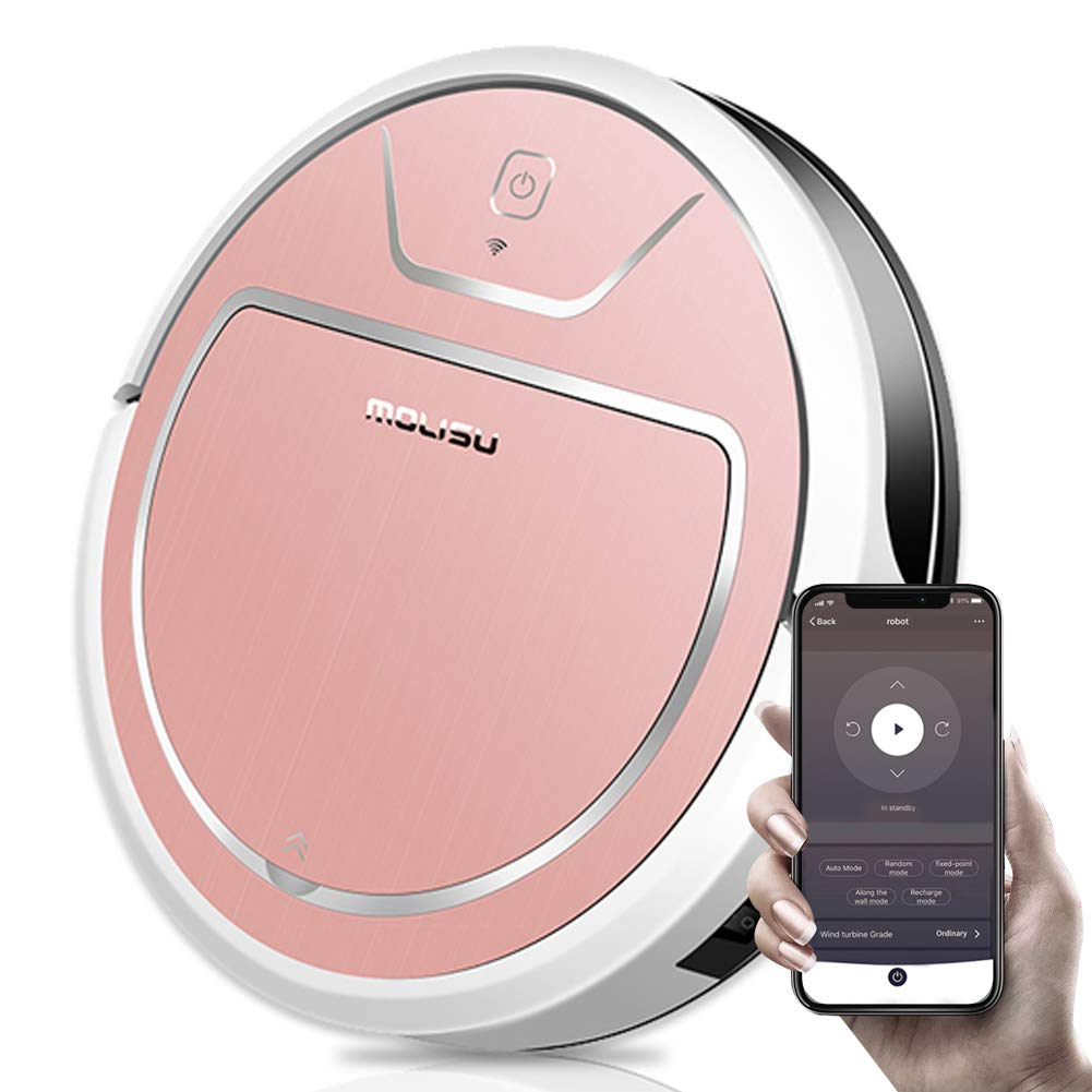 MOLISU V8S Pro Robot Vacuum Cleaner with 2000pa Strong Suction, Sweeping and Mopping,APP Remote Control and Self-Charging, Great for Pet Hair, All Kinds of Floors and Thin Carpets - Pink by BIRETDA
