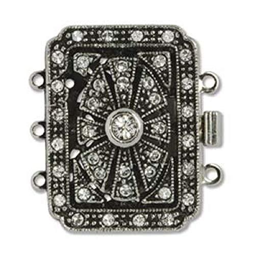 - Elegant Elements Antiqued Palladium Plated 3-Strand Box Clasp Ornate Rectangle W/Crystals 24.5x26.5mm