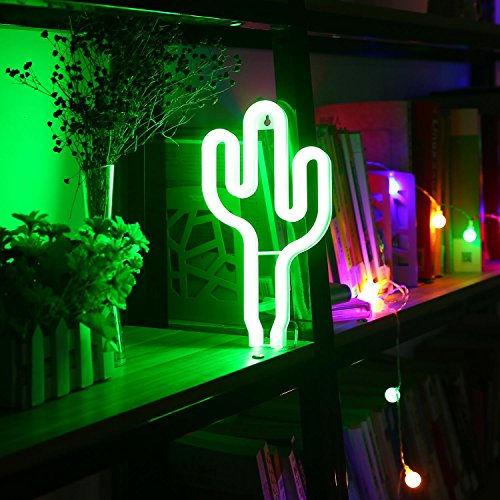 LED Cactus Neon Light Sign Wall Decor Night Lights LED Decorative Lamp for Christmas, Wedding Birthday Party & Bedroom,Home Decoration (Indoor Neon Sign)