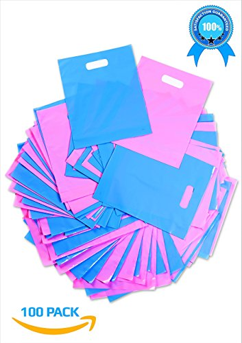 Plastic Thank You Gift Bags with Die Cut Handles 12x15 Inch with 3 Inch Gusset (100) - Pink and Blue Glossy Pastels, Thick Poly - Retail Merchandise Shopping, Trade Shows - Quality Made - Bonus ebook - Luxury Labels