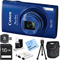 PowerShot ELPH 170 IS 20MP 12x Opt Zoom Digital Camera - Blue 16 GB Bundle - Includes Camera, 16GB SD Memory Card, USB Card Reader, Battery, Deluxe Carrying Case, 5