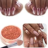Vanvler Mirror Nail Glitter Powder Sexy Chrome Powder Nail Art Decoration (Rose Gold)