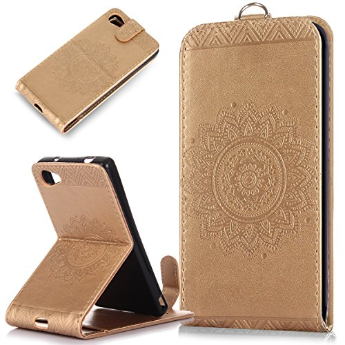 Price comparison product image Sony Xperia Z5 Compact Case,ikasus Embossing Lace Floral Mandala Flower Premium PU Leather Fold Pouch Wallet Flip Stand Credit Card ID Holders Case Cover for Sony Xperia Z5 Compact,Gold