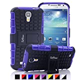 S4 Case ,Galaxy S4 Case, DLF Case [ Shockproof ] Samsung Galaxy S4 Case Heavy Duty Rugged Dual Layer TPU Textured Non Slip Reinforced Polycarbonate Hybrid Case for Samsung Galaxy S4 with Kickstand (Purple)