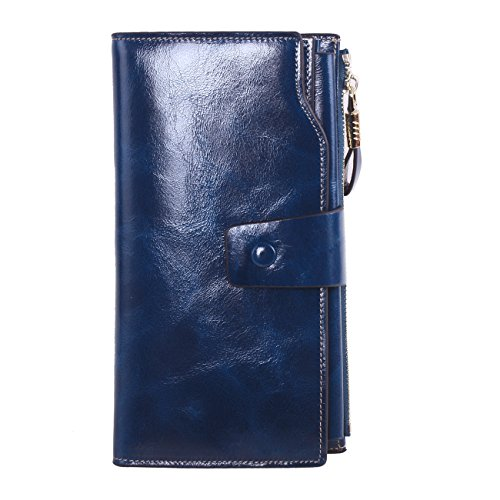 - AINIMOER Women's Large Capacity Luxury Wax Genuine Leather Ladies Wallet With Zipper Pocket(Navy Blue)