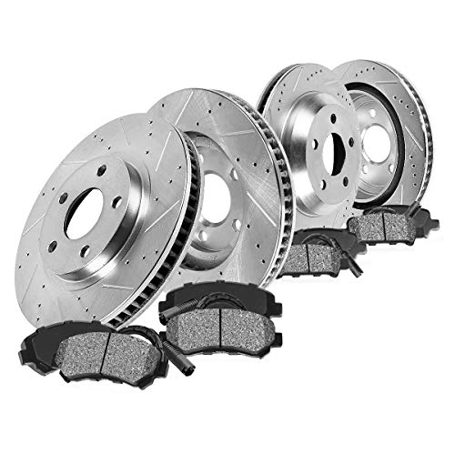 Callahan CDS02589 FRONT 336mm + REAR 352mm D/S 5 Lug [4] Rotors + Metallic Brake Pads + Clips [ Aspen Durango Ram 1500 ]
