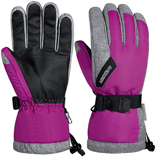 LANYI Winter Gloves for Men Women 3M Thinsulate Insulated Waterproof Ski Thermal Gloves Snowboard Driving Fleece Snow Gloves Warm Cold Weather Gloves (Rose Red, S)