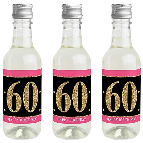 Chic 60th Birthday - Pink, Black and Gold - Mini Wine and Champagne Bottle Label Stickers - Birthday Party Favor Gift for Women and Men - Set of 16