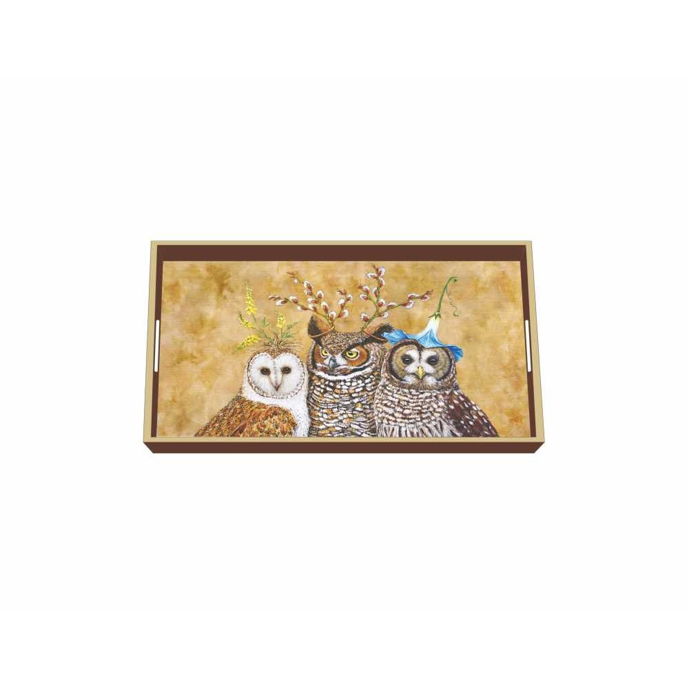 Paperproducts Design Wooden Vanity Tray Displaying Owl Family Design, 12.25 x 7 x 1.5'', Multicolor