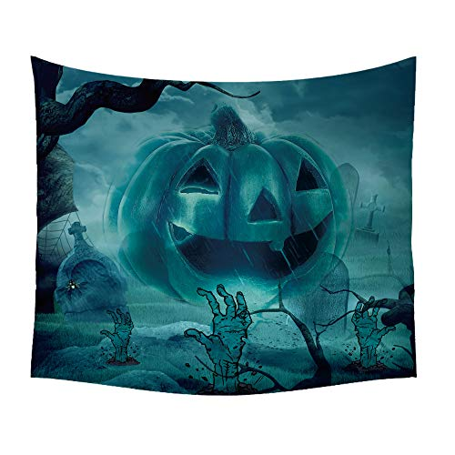 Tom Boy Halloween Decorations Tapestry,Path Through Dark Deep in Forest with Fog Halloween Pumpkin Decor,Cool Tapestries Wall Hanging for Bedroom Living Room Dorm -