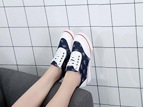de Primavera de Zapatos la Mujer Damas de Baja Lona Otoño Lona de de Color Zapatillas Pendiente Zapatos Ayuda Aire Deporte al y Zapatos de para UN de con Tamaño 42 Libre Ocasionales Aumentar XqFzzg