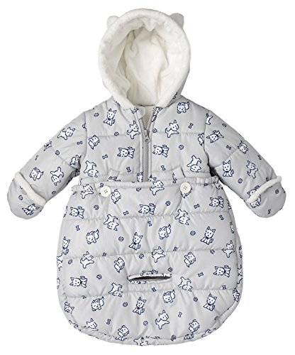 - London Fog Newborn Infant Baby Girl Boy Puffer Carbag Pram Bag Snowsuit Bunting - Grey (0/6 Months)