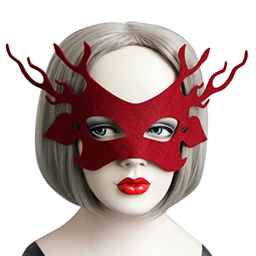 jinjiu Sexy Antlers Red Eye Face Mask Masquerade Ball Carnival Fancy Evening Party Decorative Mask - Holiday Helper Sexy Costumes