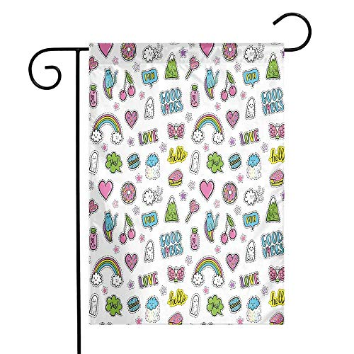 Sweetheart Bandana - Mannwarehouse Good Vibes Garden Flag Vibrant Fun Pattern Funny Cute Characters Sweets Hearts Cats Rainbows Ghosts Premium Material W12 x L18 Multicolor