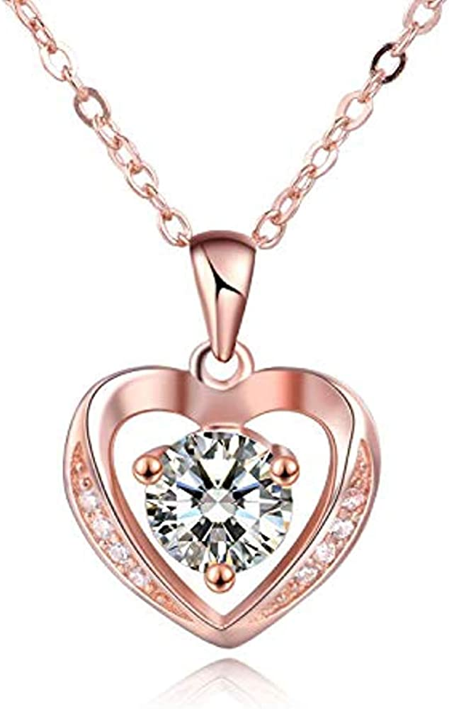 Trendzjewels 2.00 Ct Created Round Cut White Diamond 925 Sterling Silver Brilliant Heart Pendant for Womens /& Girls