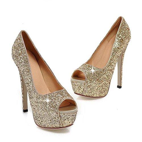 W&LM Sra Tacones altos Sandalias Zapatos nupciales Zapatos de boda Damas de honor Tacones altos Áspero Zapatos de boda Boda Boca de pescado Zapatos golden