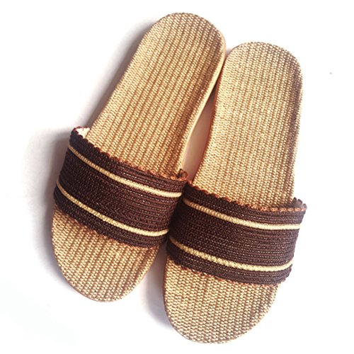 Goal Shoes Summer Indoor Slippers Beach Indoor Sandals House for Men Linen Slippers Skidproof Women Outdoor Wind Brown qwCdx6F4q