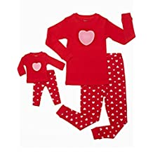 """Leveret Little Girls """"Hearts"""" 2 Piece Matching Kid & Doll Pajama Set (2T-10Y)"""
