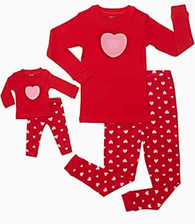 Leveret Matching Doll & Girl 2 Piece Pajama Set Top & Pants 100% Cotton (2 Toddler-10 Years) Fits American Girl Doll