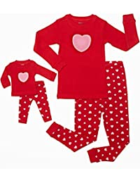 Matching Doll & Girl 2 Piece Pajama Set Top & Pants 100% Cotton (2 Toddler-14 Years) Fits American Girl Doll