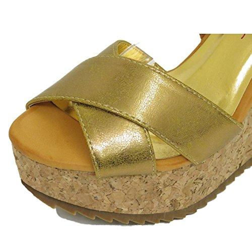 Damen Dolcis Gold Hellbraun Kork Keilabsatz Absatzsandalen Peep-Toe Schuhe Größen 3-8