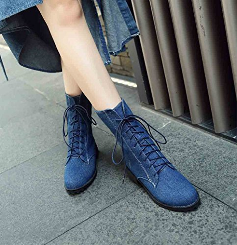 Easemax Womens Casual Denim Fabric Round Toe Front Lace Up Low Block Heel Mid Calf Boots Dark Blue I2kENz3N