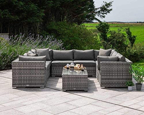 SUSIE'S GARDEN Wicker Patio Furniture Conversation Set No Assembly Outdoor Sectional Sofa Aluminum L Shape Couch Grey Deck Rattan Furniture w/Free Waterproof Cover-Toss Pillows Included