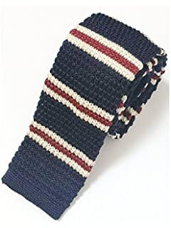 DQT Knit Knitted Striped Hot Pink Navy Casual Mens Skinny Tie