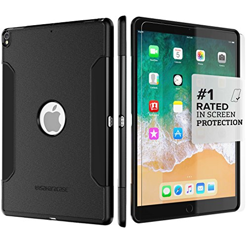 iPad Pro 10.5 Case (2017) - SaharaCase Protective Kit + Tempered Glass Screen Protector [Not Keyboard Compatible] Slim Cover [Shock-Absorbing Bumper] Scratch-Resistant Hard Back - Black from Sahara Case
