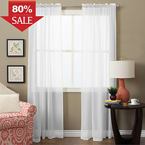 H.VERSAILTEX Sheer White Curtains 63 inch Length -Window Treatments Light Filtering Voile Curtain Panels with Rod Pocket for Bedroom/Living Room (2-Pack, 52 Wide x 63 inch Long, White) Voile Side Light Curtain Panel
