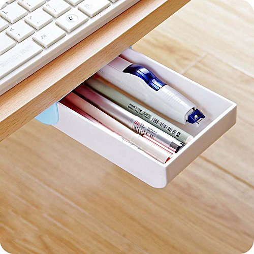 Desktop organizer Self-Stick Mechanically Pop-up Plastic Pen Pencil Sundries Office Supplies Desk Desktop Drawer Organizer Case Tray Box Holder Store for Women Men Kids Girls Boys Teens Adult (Metallic Walnut Table)