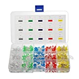 Elfeland 750pcs ( 5 colors x 150pcs) LED Light Emitting Diodes 3mm Round Assorted Color 2pin Diffused LED Electronic Parts White Red Yellow Blue Green Box Kit