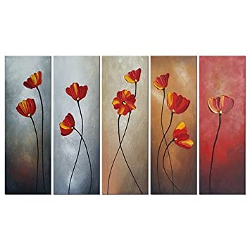 Spirit Up Art 3 Panels Modern Giclee Prints Artwork Zen Basalt Stones, Yellow and White Flowers, Bamboo Pictures to Photo Framed Paintings on Canvas Wall Art for Home Walls Decor Decorations 16x16inch