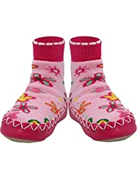 Konfetti Wild Flowers Pattern Swedish Moccasins House Slippers Shoes - Girls Slipper Socks - Home Footwear for Toddlers, Pre-Schoolers and Children